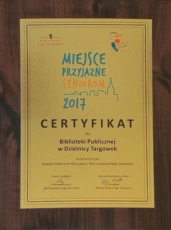 Certyfikat Miejsce Przyjazne Seniorom 2017