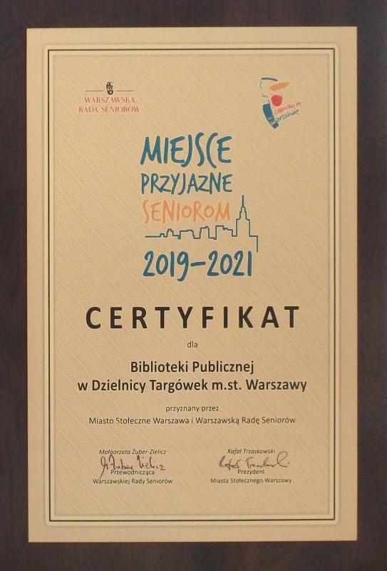 Certyfikat Miejsce Przyjazne Seniorom 2019-2021