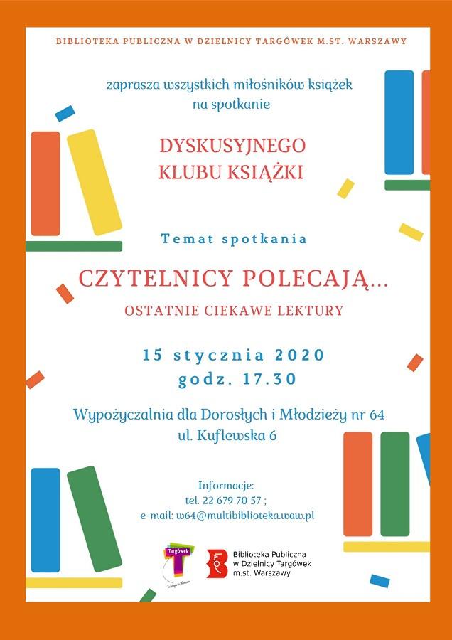 Plakat z zaproszeniem na Dyskusyjny Klub Książki