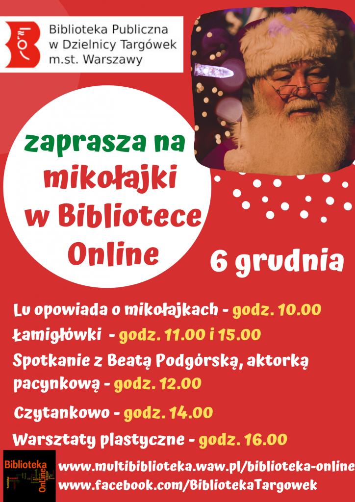 plakat - mikolajki w Bibliotece online