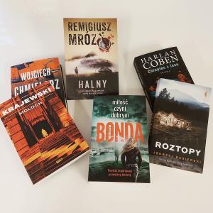 Obraz przedstawiający okładki książek kryminalnych, które mozna wygrać w konkursie na charakterystykę detektywa