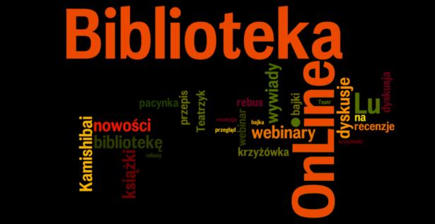 logo Biblioteki Online; rozsypane słowa takie jak: wywiady, nowości, kamishibai, krzyżówka i inne hasła charakteryzujące zawartość Biblioteki Online
